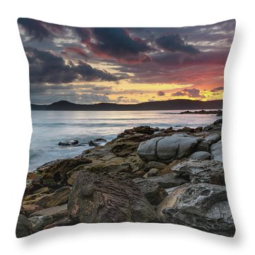 Colours Of A Stormy Sunrise Seascape Throw Pillow