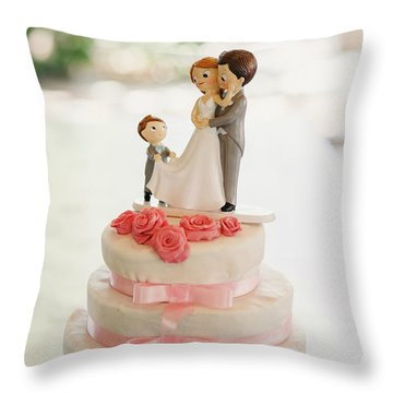 Desserts And Wedding Cake With Very Sweet Cupcakes At An Event. Throw Pillow