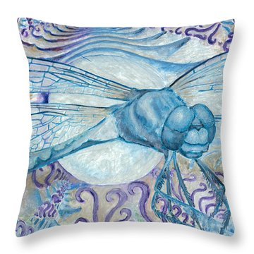 Dragonfly Moon Throw Pillow