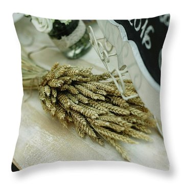 Floral Decorations In The Spaces Of A Wedding Restaurant. Throw Pillow