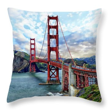Throw Pillow featuring the photograph Golden Gate Bridge by Anthony Dezenzio