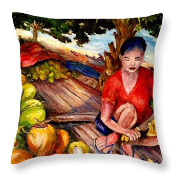 Green Coconut Cafe. Throw Pillow