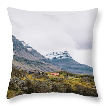 High Icelandic Or Scottish Mountain Landscape With High Peaks And Dramatic Colors Throw Pillow