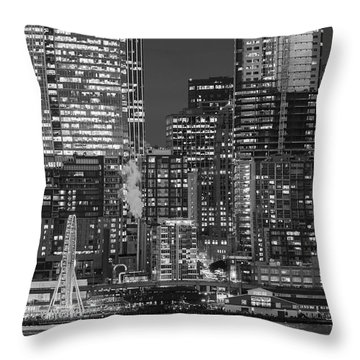 Illuminated City At Night, Seattle Throw Pillow