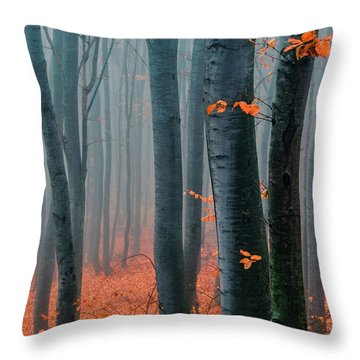 Orange Wood Throw Pillow