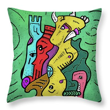 Throw Pillow featuring the digital art Psychedelic Animals by Sotuland Art