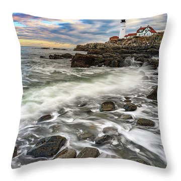Throw Pillow featuring the photograph Rising Tide At Portland Head by Rick Berk