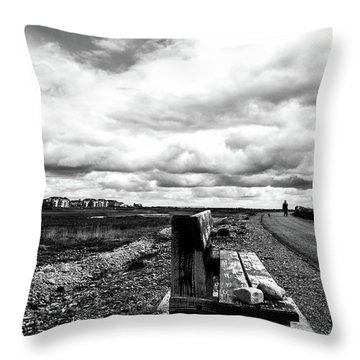 Throw Pillow featuring the photograph 2 Stones On Bench by Edward Lee