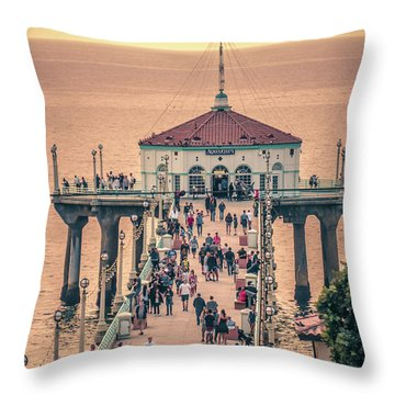 Throw Pillow featuring the photograph Sunset On Huntington Beach California by Alex Grichenko