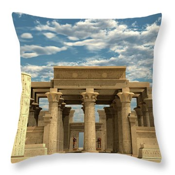 Temple Of Ancient Pharaohs Throw Pillow