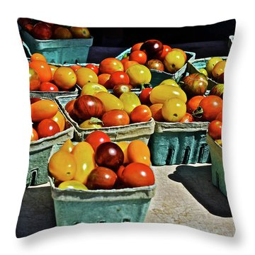 Throw Pillow featuring the photograph 2017 Monona Farmers' Market Heirloom Cherry Tomatoes by Janis Nussbaum Senungetuk
