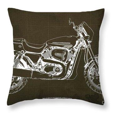 2018 Harley Davidson Street Rod, Vintage Brown Background Throw Pillow