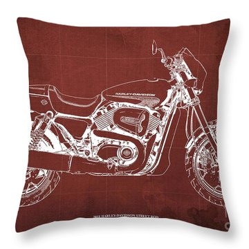 2018 Harley Davidson Street Rod, Vintage Red Background Throw Pillow