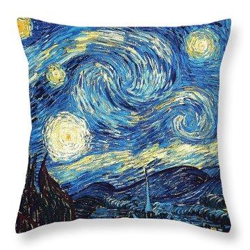 Starry Night By Van Gogh Throw Pillow