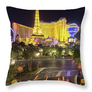 Throw Pillow featuring the photograph Nigh Life And City Skyline In Las Vegas Nevada by Alex Grichenko