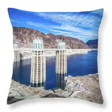 Throw Pillow featuring the photograph Wandering Around Hoover Dam On Lake Mead In Nevada And Arizona by Alex Grichenko
