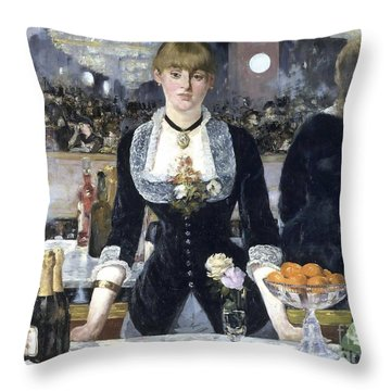 A Bar At The Folies Bergere Throw Pillow