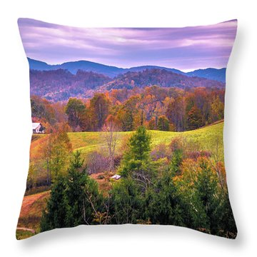 Throw Pillow featuring the photograph Autumn Season And Sunset Over Boone North Carolina Landscapes by Alex Grichenko