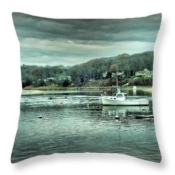 Boats At Northport Harbor Throw Pillow