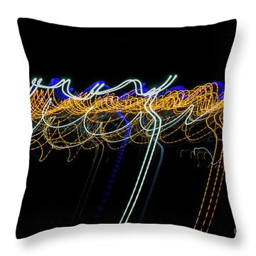 Colorful Light Painting With Circular Shapes And Abstract Black Background. Throw Pillow