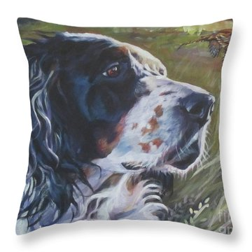English Setter In The Field Throw Pillow