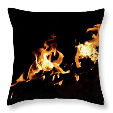 Flames In The Fire Of A Red And Yellow Barbecue. Throw Pillow