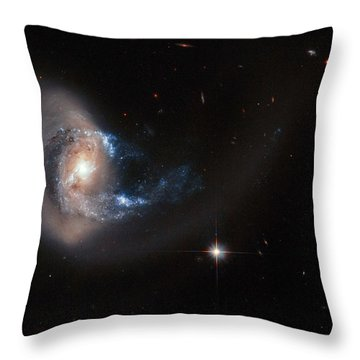 Hubble Image Of Ngc 7714 Throw Pillow