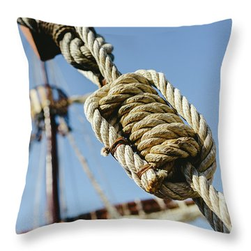 Rigging And Ropes On An Old Sailing Ship To Sail In Summer. Throw Pillow
