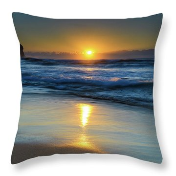 Sunrise Lights Up The Sea Throw Pillow
