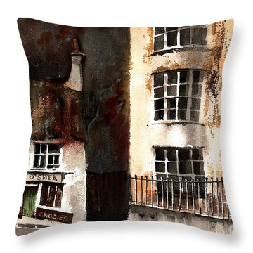 Throw Pillow featuring the painting 305 Frys Chochies In Killarney, Co. Kerry by Val Byrne