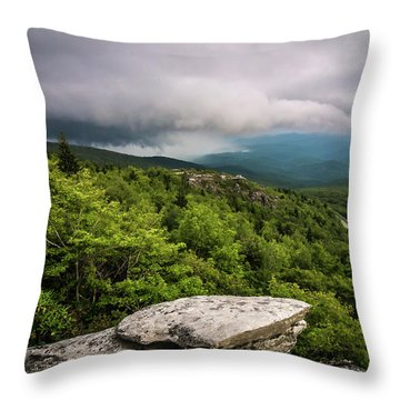 Throw Pillow featuring the photograph Rough Ridge Overlook Viewing Area Off Blue Ridge Parkway Scenery by Alex Grichenko