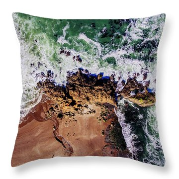 Aerial View Of The Beach, Newport Throw Pillow