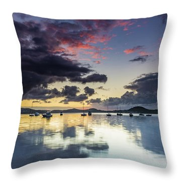 Overcast Morning On The Bay With Boats Throw Pillow