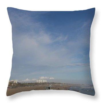Santa Monica Beach, Santa Monica, California Throw Pillow