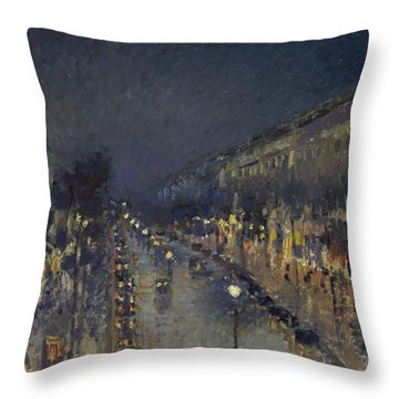The Boulevard Montmartre At Night Throw Pillow