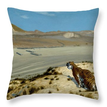 Tiger On The Watch Throw Pillow