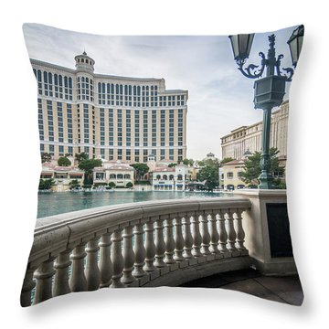 Throw Pillow featuring the photograph Bellagio Hotel And Other Architecture In Las Vegas Nevada by Alex Grichenko
