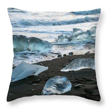 The Diamond Beach, Jokulsarlon, Iceland Throw Pillow