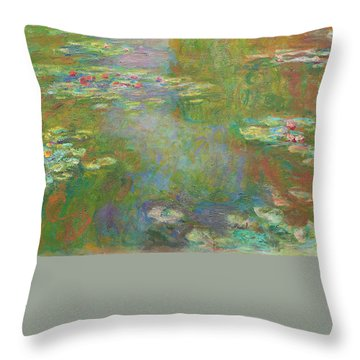 Throw Pillow featuring the digital art Water Lily Pond by Claude Monet