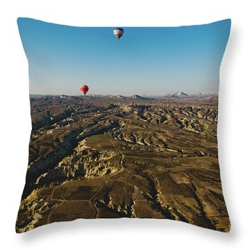 Colorful Balloons Flying Over Mountains And With Blue Sky Throw Pillow