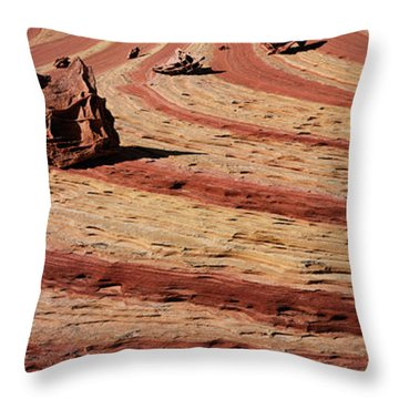 High Angle View Of Rock Formations Throw Pillow
