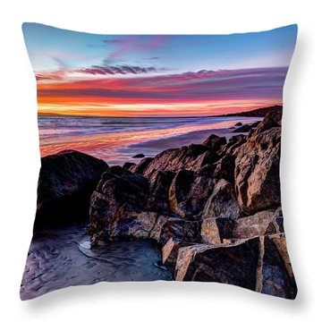 Rock Formations On The Beach Throw Pillow