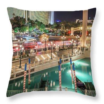 View Of The Venetian Hotel Resort And Casino Throw Pillow
