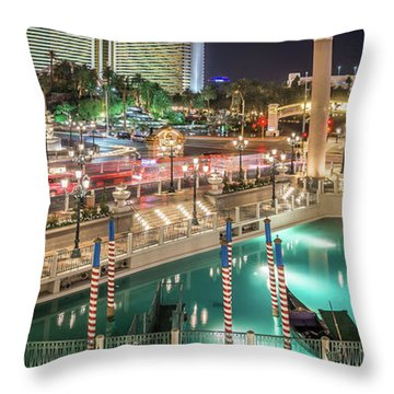 View Of The Venetian Hotel Resort And Casino Throw Pillow