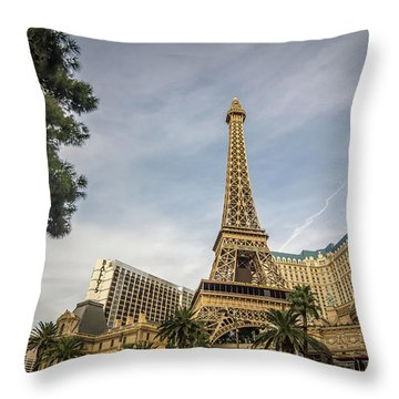 Throw Pillow featuring the photograph View On The Replica Of Eiffel Tower At Paris Hotel   by Alex Grichenko