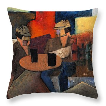Throw Pillow featuring the painting 7073 Two Black Solutions by Val Byrne
