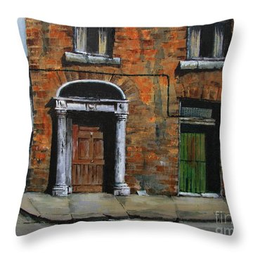 Throw Pillow featuring the painting 775 Decaying Elegance In The Liberties, Dublin by Val Byrne