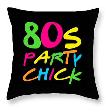 Throw Pillow featuring the digital art 80s Party Chick by Flippin Sweet Gear