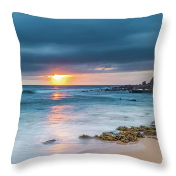Sunrise Seascape And Cloudy Sky Throw Pillow