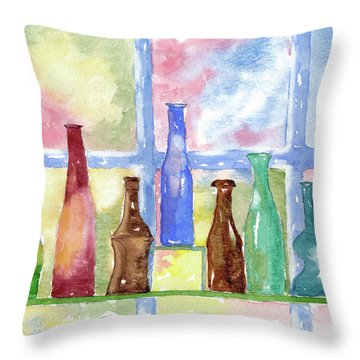 Throw Pillow featuring the painting 99 Bottles by Rich Stedman